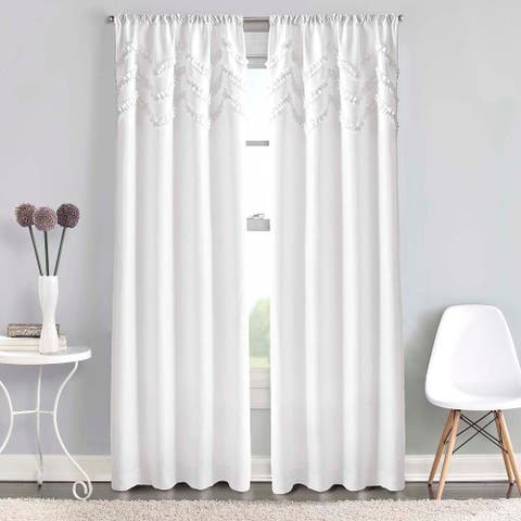 Chevron Ruffle Rod Pocket Curtain Panel