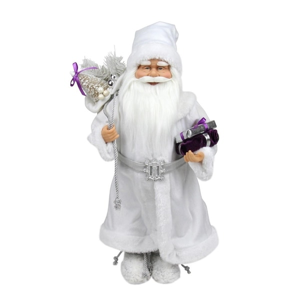 """18.25"""" Snowy Winter Santa Claus with Presents Christmas Decoration - WHITE"""