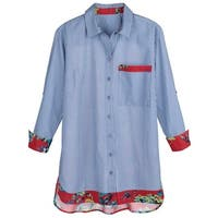 Women's Button-Front Blue Pinstripe Shirt - Red Floral Print Sheer Back & Accents