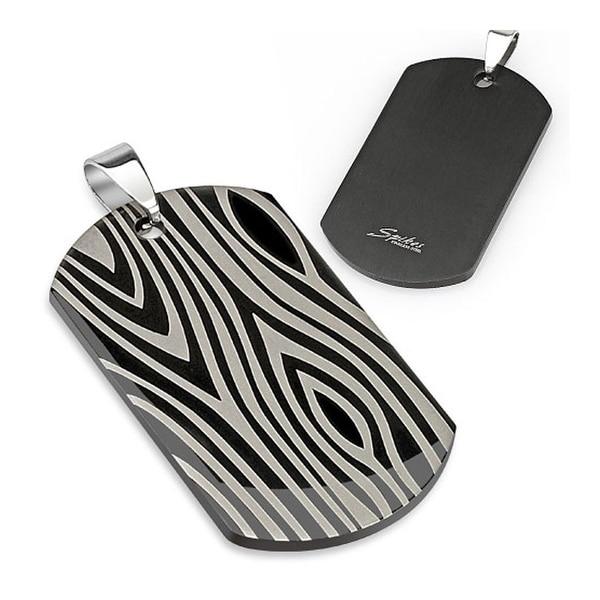 Zebra Print Laser Etched Black IP Stainless Steel Dogtag (27 mm Width)
