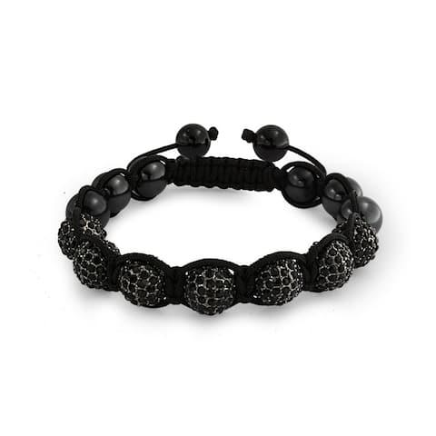 Crystal Ball Hematite Shamballa Inspired Bracelet Black Cord
