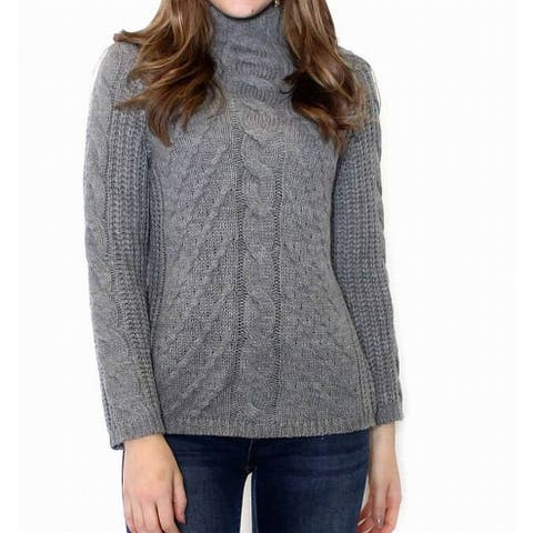 Promesa Women's Gray Size Large L Cable Knit Turtleneck Mock Sweater