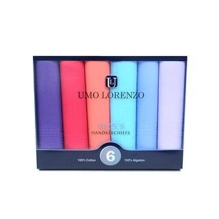 Men's 6pc Colorful Boxed Fancy 100% Cotton Handkerchiefs Hankies - regular