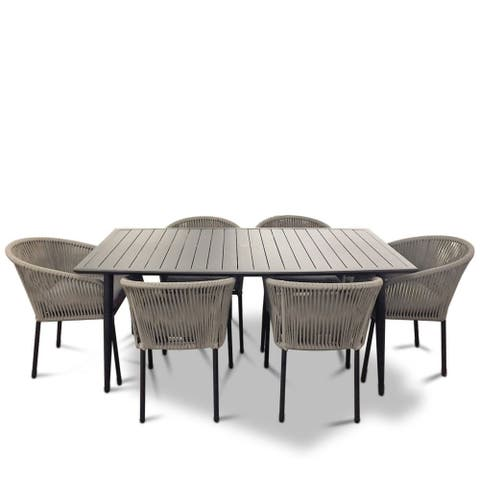 Courtyard Casual Osborne Black Aluminum Outdoor Dining Set w/ Table and 6 chairs with Cushions