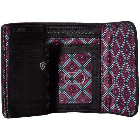 Vera Bradley Iconic RFID Riley Compact Wallet, , Vines Floral, Size One Size - One Size