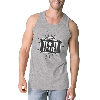 Time To Travel Mens Grey Cotton Tanks Lightweight Cool Summer Tee