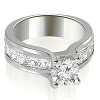2.00 cttw. 14K White Gold Channel Round and Princess Diamond Engagement Ring