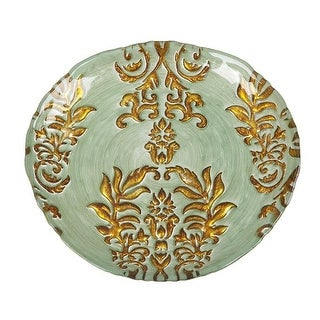Red Pomegranate Damask 8.5 in. Turquoise & Gold Plate - Set of 4