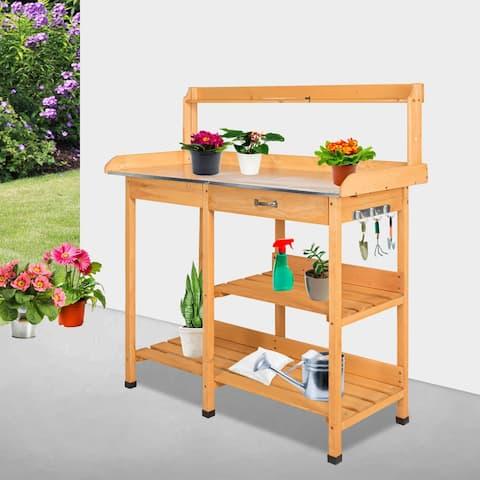 Kinbor Outdoor Potting Bench with Metal Tabletop, Garden Work Bench Planting Workstation w/ Storage Shelves & Hooks