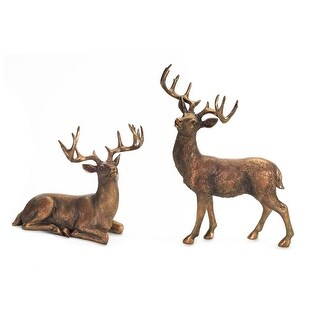 """Set of 2 Antique Styled Standing and Sitting Deer Tabletop Figures 20.75"""""""