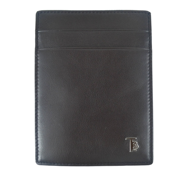 Tods Mens Black Smooth Leather Metal Logo Card Organizer
