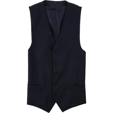 Michael Kors Mens Plaid Five Button Vest - 40 Regular