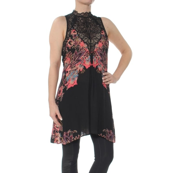 d5b2ab1dc925 Shop FREE PEOPLE Womens Black Lace Slipdress Sleeveless Turtle Neck Above  The Knee Trapeze Dress Size: M - Free Shipping On Orders Over $45 -  Overstock - ...