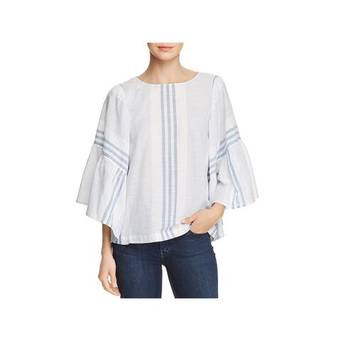 Beach Lunch Lounge Womens Blouse Mixed Stripe Flare Sleeve