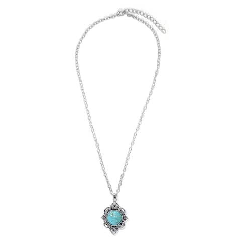 Silver Plated Simulated Turquoise Filigree Pendant Necklace