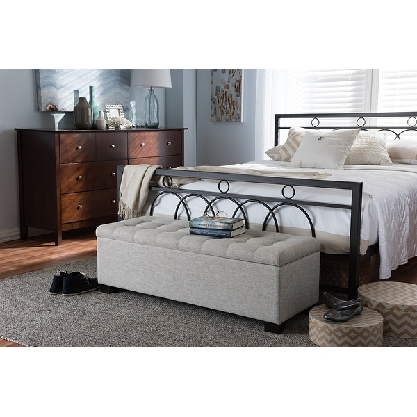 Upholstered Bench Beige: Shop Roanoke Beige Fabric Upholstered Grid-Tufting Storage