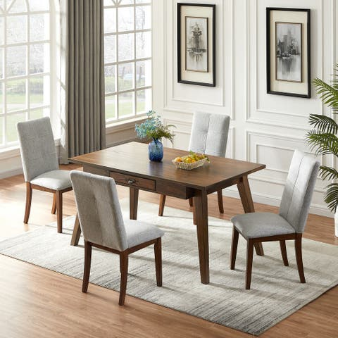 Furniture R Traditional Solid Wood Dining Set(Set of 5)