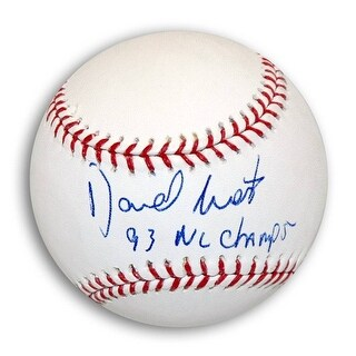 """David West Autographed MLB Baseball Inscribed """"93 NL Champs"""""""