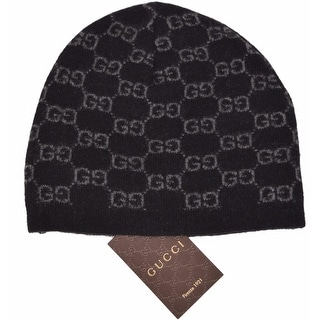 Gucci Men's 387577 Black 100% Cashmere GG Guccissima Beanie Ski Winter Hat