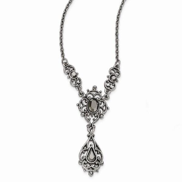 Silvertone Antique Hematite Necklace - 16in