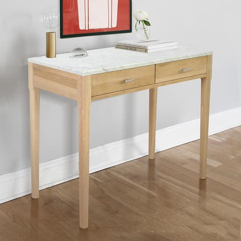 "Meno 36"" Rectangular Italian Carrara White Marble Console Table with Legs"