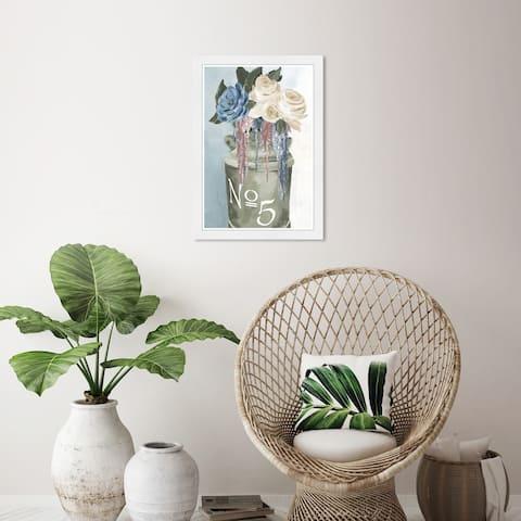 Wynwood Studio 'Big Flower Jar' Floral and Botanical Green Wall Art Framed Print