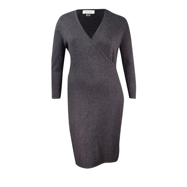 Calvin Klein Women's Buckle Faux-Wrap Sweater Dress