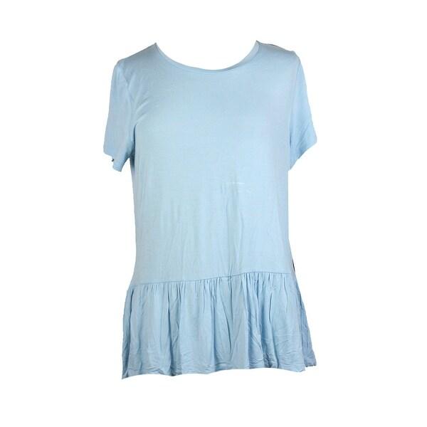 4f4f4555 Shop Tommy Hilfiger Porcelain Blue Short-Sleeve Peplum Top L - Free ...