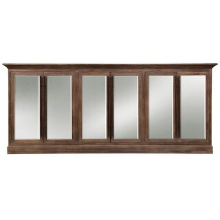 "Harp and Finial HFF24811  Carver 96"" Wide Six Door Hardwood Sideboard - Aged Brown"