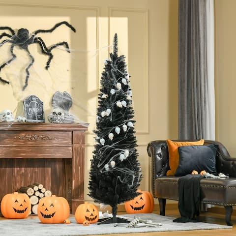 "HOMCOM 6ft Artificial Christmas Pencil Tree Holiday Xmas Tree Home Indoor Decoration - 21.75"" x 21.75"" x 70.75"""