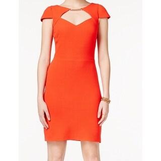 Jessica Simpson NEW Orange Women's Size 4 Keyhole Cut-Out Sheath Dress