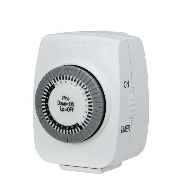 Stanley TimeIt Mini Lamp and Appliances Grounded Timer - WHITE