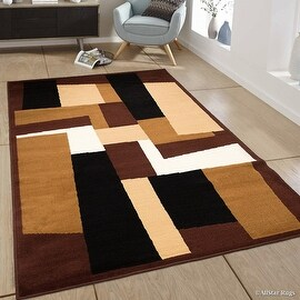 """Allstar Dark Brown Area Rug. Contemporary. Abstract. Traditional. Geometric. Formal. Shapes. Squares (5' 2"""" x 7' 1"""")"""