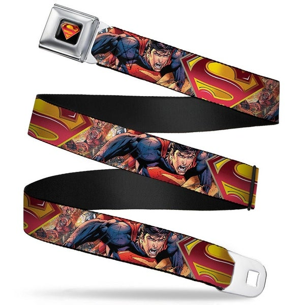 Superman Shield Full Color Black Golds Reds White Superman Unchained Seatbelt Belt