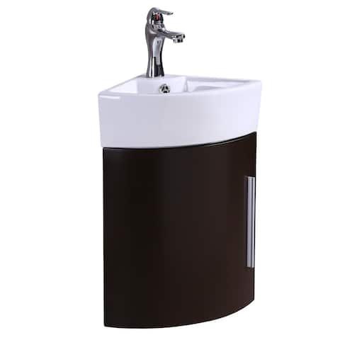 Renovators Supply Stylish Corner White Cabinet Vanity Sink made with Dark Oak Vanity Cabinet