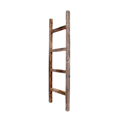 4 Step Rustic Weathered Grey Wood Ladder Shelf - 4 ft