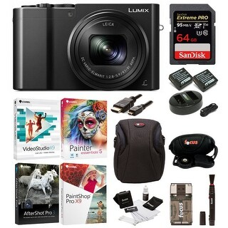 Panasonic Lumix DMC-ZS100 Digital Camera w/ Mini Portable LED Light & 64 GB SD Card Bundle (Black)
