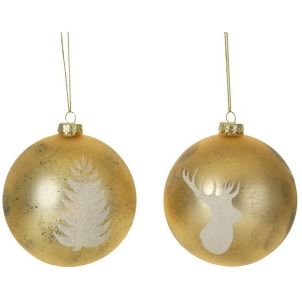 """Pack of 6 Christmas Decorative Indoor Outdoor Gold Deer and Tree Silhouette Ornaments 3.5""""D"""
