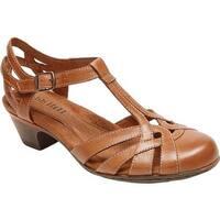 Rockport Women's Cobb Hill Aubrey T Strap Sandal Tan Full Grain Burnished Leather