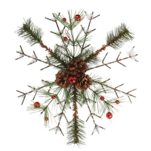 "12"" Frosted Pine, Berries and Pine Cone Snowflake Christmas Tree Ornament - brown"