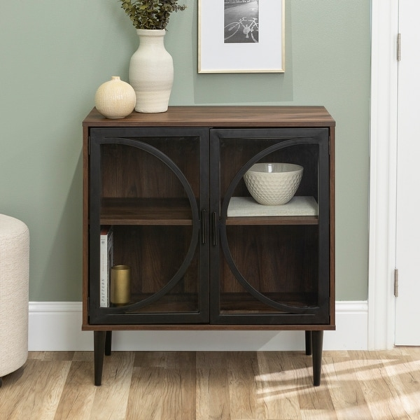 Carbon Loft Delano Metal and Glass Door Accent Console. Opens flyout.
