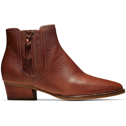 Cole Haan Womens Hadlyn Ankle Boots Leather Pointed Toe - British Tan Leather