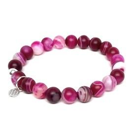 "Fuchsia Agate Lucy 7""Sterling Silver Stretch Bracelet"