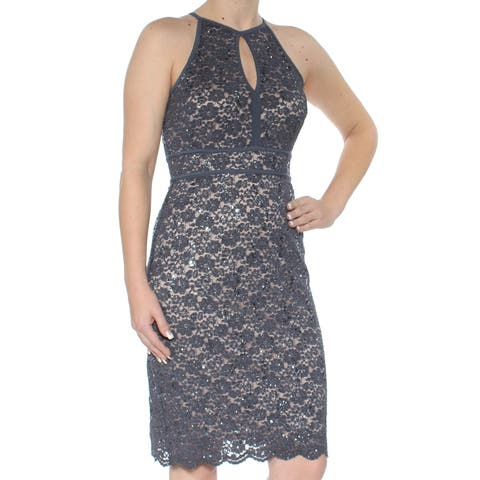 b87c49eda19 NIGHTWAY Womens Gray Sequined Floral Sleeveless Halter Knee Length Sheath Party  Dress Size  4