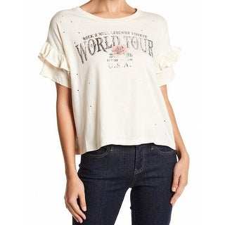 "Ten Sixty Sherman NEW Beige Womens XL ""World Tour"" Graphic Tee T-Shirt"
