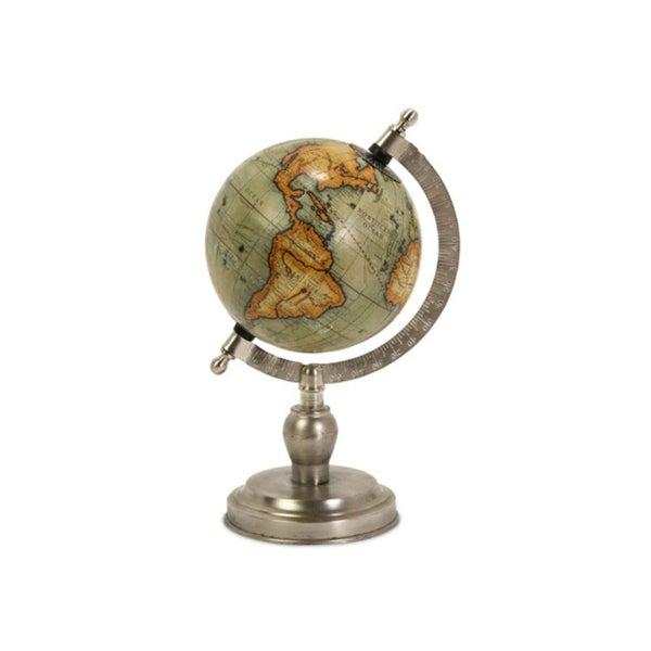 "Small Nickel Finish Executive Style Desktop Globe 15"" - Silver"