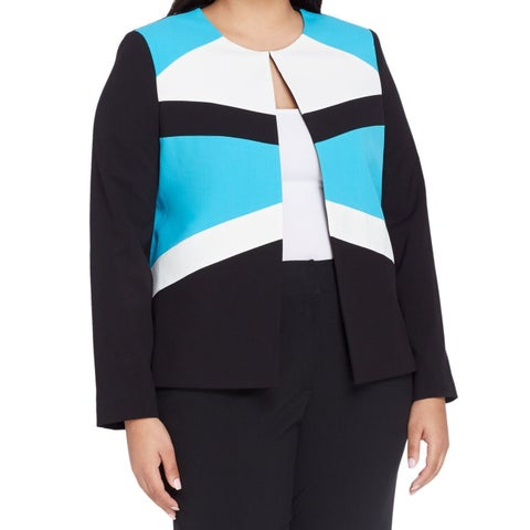 Tahari By ASL NEW Blue Women's Size 22W Plus Colorblocked Jacket