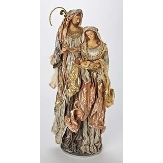 """31"""" Large Religious Green and Mauve Holy Family Fabric Mache Christmas Figure"""