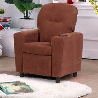 Costway Kids Recliner Armchair Children's Furniture Sofa Seat Couch Chair w/Cup Holder Brown