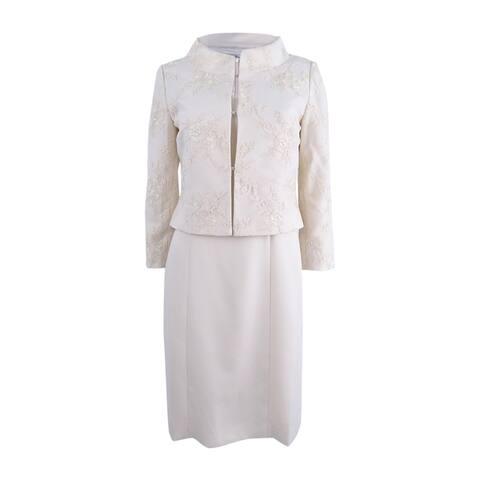 Tahari ASL Women's Lace Dress Suit - Bridal Ivory